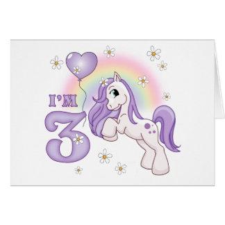 Pretty Pony 3rd Birthday Invitations Greeting Cards