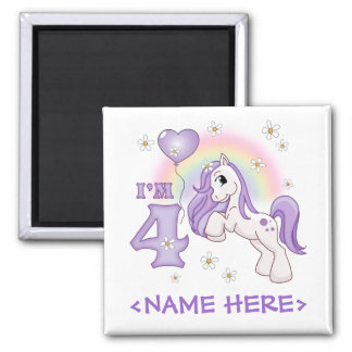 Pretty Pony 4th Birthday 2 Inch Square Magnet