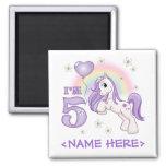 Pretty Pony 5th Birthday Magnets