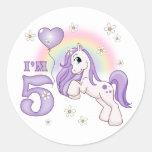 Pretty Pony 5th Birthday Stickers