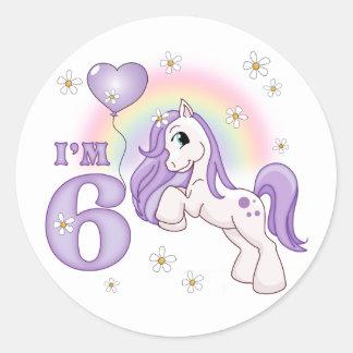 Pretty Pony 6th Birthday Classic Round Sticker