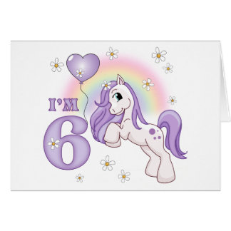 Pretty Pony 6th Birthday Invitations Cards