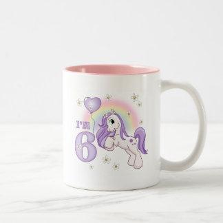 Pretty Pony 6th Birthday Two-Tone Coffee Mug