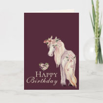 Pretty Pony and Flowers Horse Happy Birthday Card