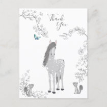 Pretty Pony and Squirrels Woodland Horse Thank You Postcard