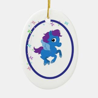 Pretty Pony & Butterflies Ceramic Ornament