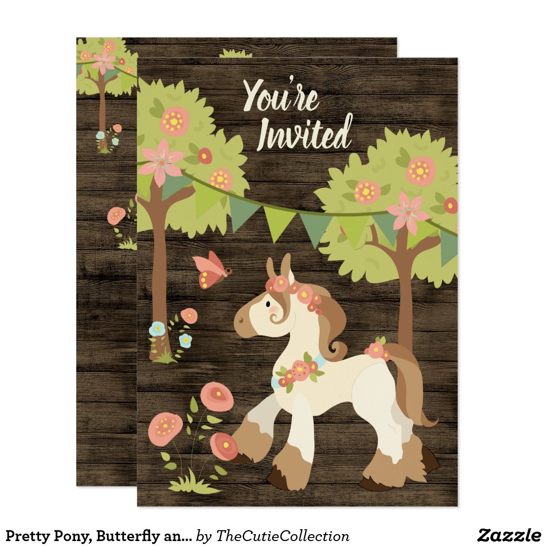 Pretty Pony, Butterfly and Flowers Horse Birthday Invitation