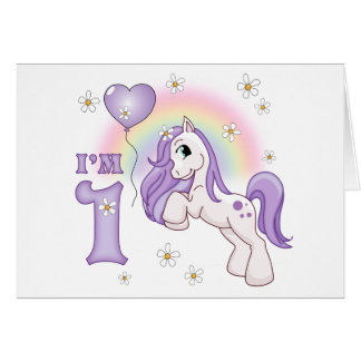 Pretty Pony First Birthday Invitations Cards