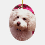 Pretty Poodle Double-Sided Oval Ceramic Christmas Ornament