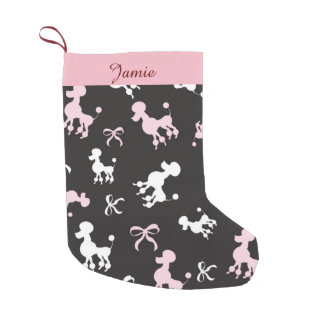 Pretty Poodles Pink and Black Small Christmas Stocking