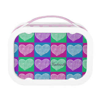 pretty pop art sequined hearts pattern lunch box