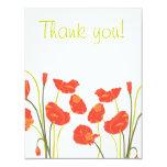 "Pretty Poppies Thank you Notecard 4.25"" X 5.5"" Invitation Card"