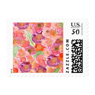 Pretty Poppies Watercolor Postage