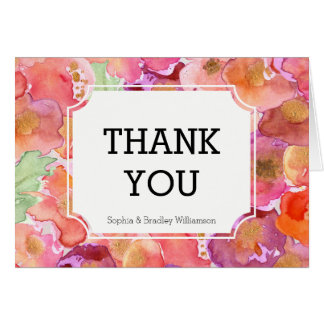 Pretty Poppies Watercolor Thank you Card