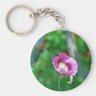 Pretty Poppy Basic Round Button Keychain