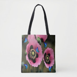 Pretty Poppy Flower Butterfly Tote Bag
