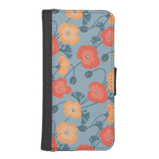 Pretty Poppy pattern Wallet Phone Case For iPhone SE/5/5s