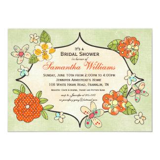 "Pretty Posies Bridal Shower Invitation - Tangerine 5"" X 7"" Invitation Card"
