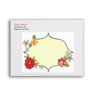 Pretty Posies Personalized Envelope - Cherry Red