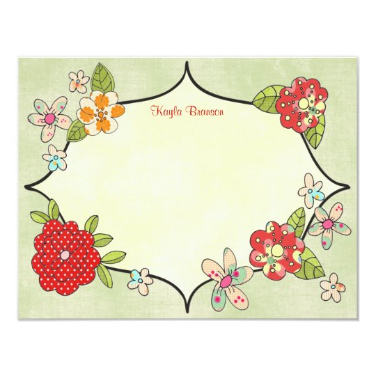 Pretty Posies Personalized Note Cards Cherry