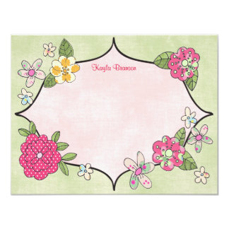 Pretty Posies Personalized Note Cards Magenta