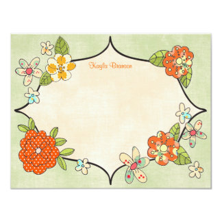 Pretty Posies Personalized Note Cards Tangerine