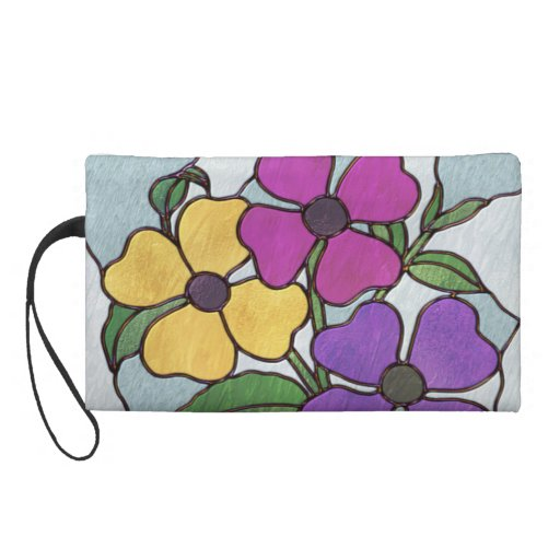 Pretty Posy Stained Glass Look Flowers Wristlet Purses