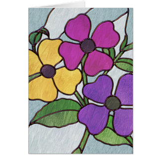 Pretty Posy Stained Glass Look Flowers Card