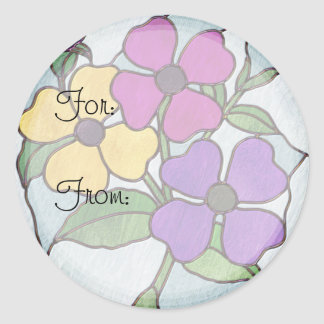 Pretty Posy Stained Glass Look Flowers Classic Round Sticker