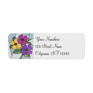 Pretty Posy Stained Glass Look Flowers Label