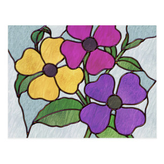 Pretty Posy Stained Glass Look Flowers Postcard