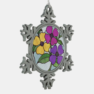 Pretty Posy Stained Glass Look Flowers Snowflake Pewter Christmas Ornament
