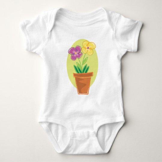 Pretty Pot Of Flowers Baby Bodysuit
