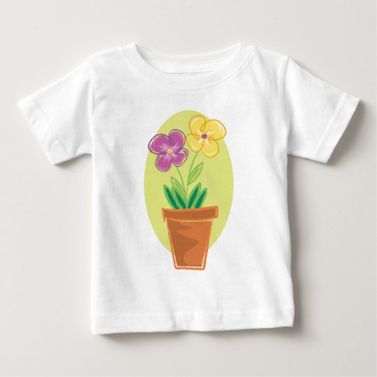 Pretty Pot Of Flowers Baby T-Shirt