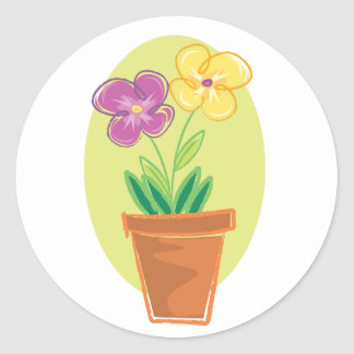 Pretty Pot Of Flowers Classic Round Sticker