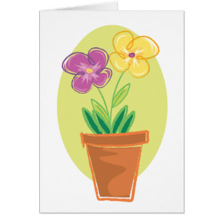 Pretty Pot Of Flowers Greeting Card
