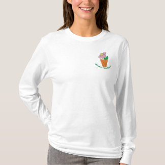 Pretty Potted Plant with Custom Text Embroidered Long Sleeve T-Shirt