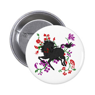 Pretty Prancing Dark Unicorn with Flowers Pinback Button