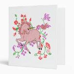 Pretty Prancing Pink Unicorn in Flowers 3 Ring Binder