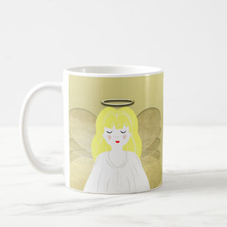 Pretty Praying Angel Golden Halo and Wings Classic White Coffee Mug