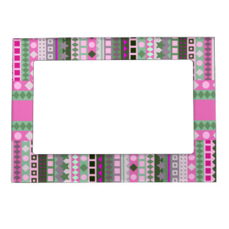 Pretty Preppy Pink and Green ZigZag Aztec Stripes Magnetic Frame
