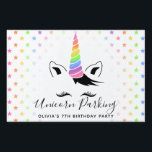 """Pretty Pretty Pastel Unicorn Parking Sign<br><div class=""""desc"""">Add a sprinkle of magic to their unicorn theme birthday with the Pretty Pretty Pastel Unicorn Parking Yard Sign designed by Enchantfancy Design Company. This cute lawn sign features a sweet unicorn face complete with big eyelashes and a pastel rainbow unicorn horn. A pattern of pastel rainbow stars accent the...</div>"""