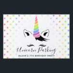 "Pretty Pretty Pastel Unicorn Parking Sign<br><div class=""desc"">Add a sprinkle of magic to their unicorn theme birthday with the Pretty Pretty Pastel Unicorn Parking Yard Sign designed by Enchantfancy Design Company. This cute lawn sign features a sweet unicorn face complete with big eyelashes and a pastel rainbow unicorn horn. A pattern of pastel rainbow stars accent the...</div>"