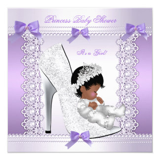 Pretty Princess Baby Shower Cute Girl in Shoe 2 5.25x5.25 Square Paper Invitation Card