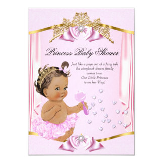 Pretty Princess Baby Shower Pink Gold Brunette Card