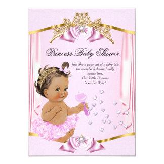 Pretty Princess Baby Shower Pink Gold Brunette Card
