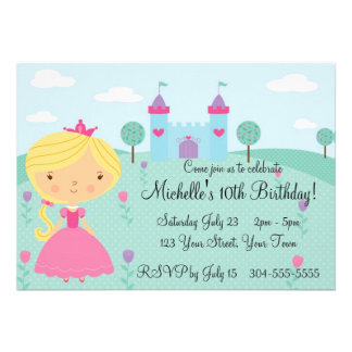 Pretty Princess Birthday Party Personalized Announcements