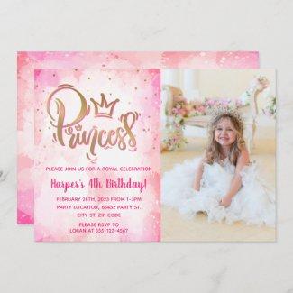 Pretty Princess Birthday Photo Invitation