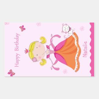 Pretty Princess Birthday Stickers, Glossy Rectangular Sticker