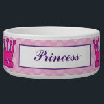 "Pretty Princess Crown Personalized Dog Bowls<br><div class=""desc"">Give your puppy the royal treatment with this pink crown princess custom name food bowl. Easy to personalize! And best of all,  dishwasher safe.</div>"